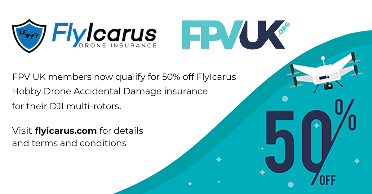 FPV UK members get 50% off FlyIcarus Hobby Drone Accidental Damage insurance